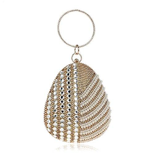 Flada Damen und Mädchen Strass Beaded Abend Clutch Tasche Oval Armband Handtasche Portemonnaie Gold (Purse Hochzeits-abend-clutch)