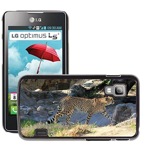 Just Phone Cases Bild Hart Handy Schwarz Schutz Case Cover Schale Etui // M00128864 Cheetah African Predator Gehen // LG Optimus L5 II Dual E455 / E460 (Cheetah Gehen)