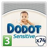 Dodot Sensitive - Pañales para bebé, talla 3 - 148 pañales (2 cajas x 74 pañales )