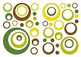 I-love-Wandtattoo WAS-10152 Retro Wandtattoo Set Retro Dots in Gelb, Grün und Braun 40 Stk Wandsticker Wandaufkleber Sticker Wanddeko