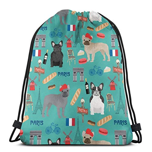 "best& French Bulldog in Paris - Frenchie, Paris, France, Dog, Dogs, Cute Pet - Teal_25827 3D Print Drawstring Backpack Rucksack Shoulder Bags Gym Bag for Adult 16.9""x14"""