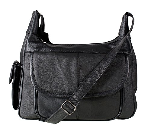 Italian Leather Ladies Handbag Black Soft Leather Shoulder Bag 7473