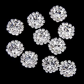 Phenovo Rhinestone Flat Back Buttons Glue on Embellishments for Crafts 15mm Pack of 10 Clear