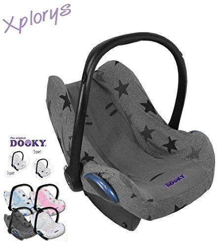 Original DOOKY BabyFit ** UNIVERSAL Schonbezug / Ersatzbezug für 3 und 5 Punkt Gurt System ** Babyschale, Autositz wie z.B. für Maxi-Cosi, Cybex etc.** GREY STARS ** (5-punkt-gurt Autositz)