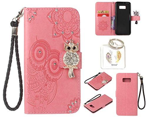 Preisvergleich Produktbild für Samsung Galaxy S8+ S8 Plus PU Diamant Strass Niedlich Eule Leder Silikon Schutzhülle Handy case Book Style Portemonnaie Design für Samsung GalaxyS8+ S8 Plus + Schlüsselanhänger ( NHY6 (1)