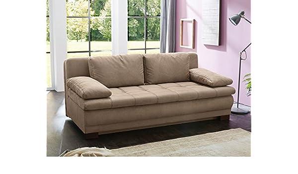 Funktionssofa Leano 203x106 Cm Dicklederoptik Beige Schlafsofa Couch