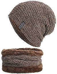 Envoi gratuit Kobay 2 pièces Bonnet hiver écharpe ensemble chaud chapeau  tricot épais ... 15ca9528884