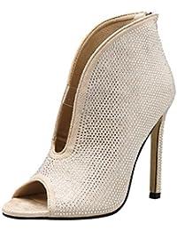 Luckycat Mujer Altos Talón Fiesta Moda Tacones Altos Zapatillas Mujer  Correa de Tobillo Tacón Alto Sandalia Noche Fiesta Zapatos Mujer… a5e1cec180003