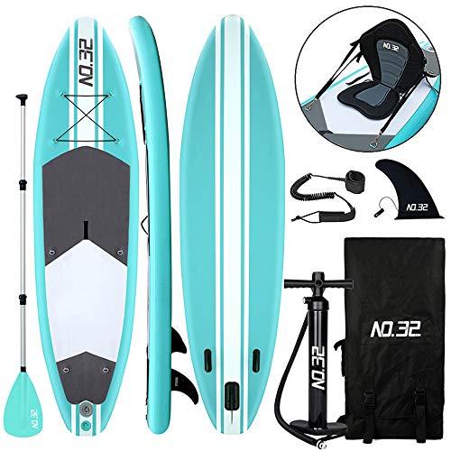 Aufblasbares SUP Board für Stand Up Paddle Board (15cm Dick) | Surfbrett Sets mit Hochdruck-Pumpe + Verstellbare Paddel + Kajak Sitz + 3 Finnen + Füße TPU Paddle Leash + Rucksack & Reparaturset