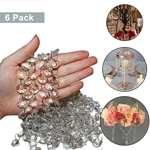 Kristall-Perlen-Stränge Set (6er Set - 1m Lang) - 1,5cm Breite Klarglas Achteckige Kristallperlen für Kronleuchter, Türvorhang, Hochzeits Dekoration, Perlen-Vorhang, Armband u. Schmuckherstellung - Kristall-perlen Für Kronleuchter