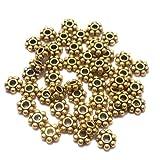 #10: Beadsnfashion German Silver Chakri Beads Golden 4 mm, Pack Of 1000 Pcs.
