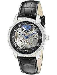 Stuhrling Original Men's Automatic Watch with Black Dial Analogue Display and Black Leather Strap 835.02
