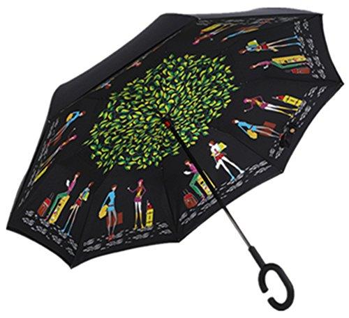 Paraguas invertido de doble capa independiente