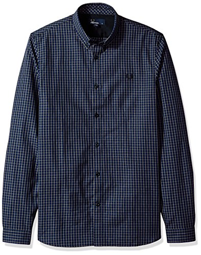 Fred perry fp three-colour basketweave, camicia sportiva uomo, multicolore (medieval blue), small (taglia produttore:s)