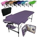 Vivezen ® Table de massage pliante 2 zones en aluminium + accessoires et housse de transport - Norme CE - Violet