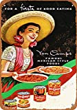 Yilooom Van Camps Mexican Foods - Vintage Metal Sign Novelty Wall Plaque Wall Art Decor Accessories Gifts 8 X 12 Inches