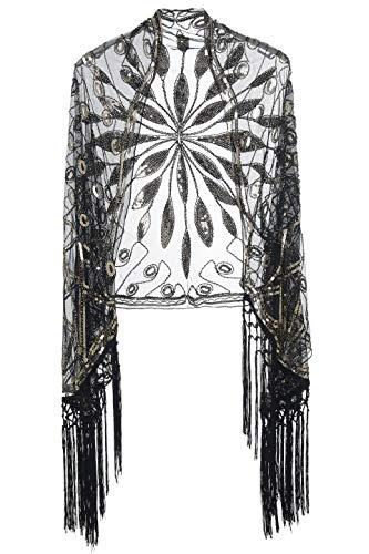 Coucoland Damen Umschlagtücher Stola für Abendkleid Retro 1920s Schal Hochzeit Braut Schal Schulter Bedeckung 20er Jahre Stil Gatsby Kostüm Accessoires (Schwarz - Einfache 20er Jahre Kostüm