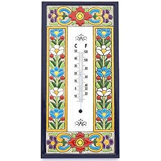 Art Escudellers Thermometer, Thermometer, dekorativer Keramik-Thermometer, zum Hängen handbemalt mit der Technik trocken. 17 cm Modell 1