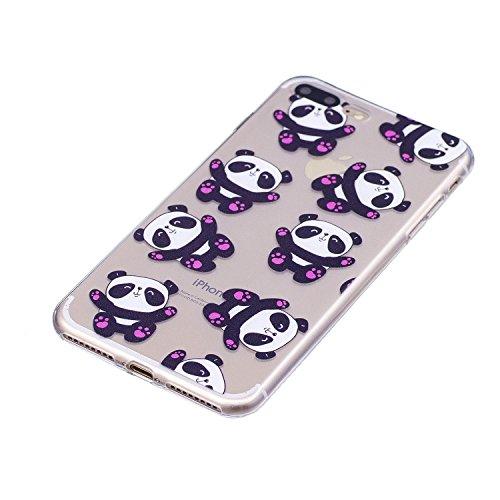 Custodia per iPhone 8 Plus 5.5,Silicone Cover per iPhone 7 Plus 5.5,Leeook Creativa Bello Carina Gatto Painted Design Ultra Sottile Morbida Transparent TPU Gel Cover Case Shock-Absorption Anti Scivo Abbraccio Panda