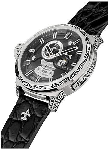 HÆMMER Black Hole Skeleton Herren-Automatikuhr aus Edelstahl | Exklusiv Limitierte Herren-Uhr mit Kalbsleder Armband | Luxus-Uhr mit Inkgraved veredeltem Gehäuse