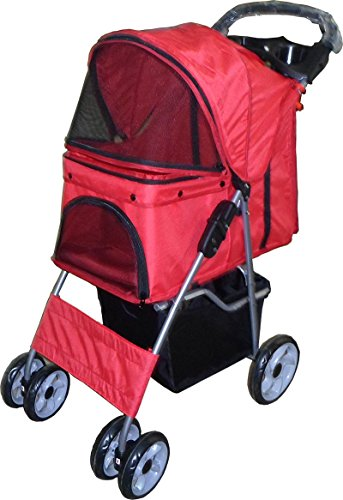 vivoc-red-dog-puppy-cat-pet-travel-stroller-pushchair-pram-jogger-buggy-with-two-front-swivel-wheels