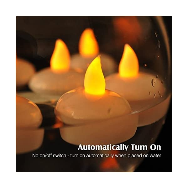 12 Piezas Sin llama Parpadeo Luces de té / Velas Flotantes para Centros de Mesa, Larga vida Activado por agua LED Luces de té para la Boda Fiesta Decoración Floral Batería Incluida (Cálido amarillo)