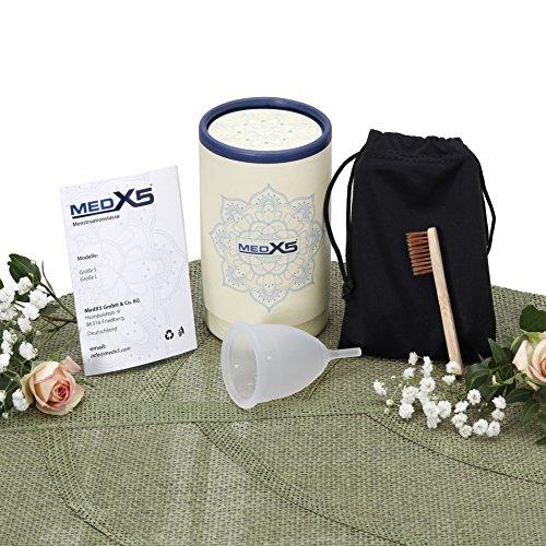 MedX5 Menstruationstasse aus medizinischem Silikon, Menstruationskappe inkl. Reinigungsbürste, Beutel und Geschenkbox, Größe: S, Farbe: Transparent