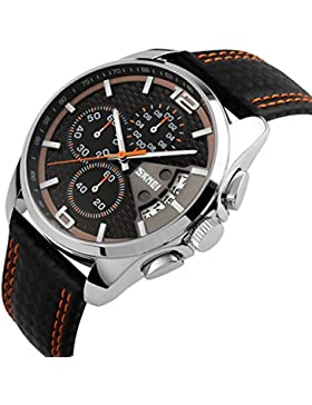 Sport Herrenuhren Quarzuhr Luxus Leder Uhrenarmbänder Chronograph Wasserdichte Kalender Armbanduhren Für Herren...
