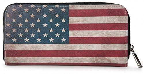 styleBREAKER USA Designer Geldbörse im Stars and Stripes Vintage Design, Reißverschluss, Portemonnaie, Damen 02040020, (Passt Usa)