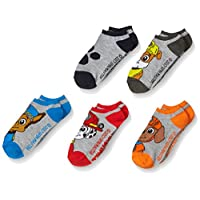 PAW Patrol Boys' Little 5 Pack No Show, Grey Assorted, Fits Sock Size 6-8.5 Fits Shoe Size 7.5-3.5