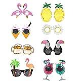 Tomkity 8pcs Lunettes de Soleil Tropicales Hawaïennes Accessoires de Soirée de Déguisements Photo Props Drôles Costume Amusantes Fête...
