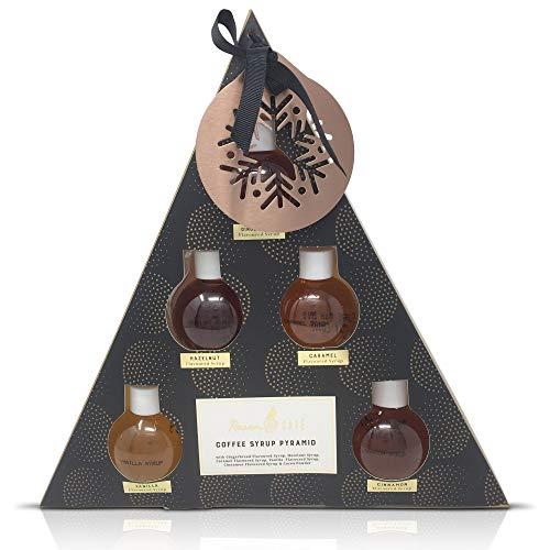 Kaffeesirup-Pyramiden-Geschenk-Set mit Baum-Verzierung - 5 Aromen, Lebkuchen, Haselnuss, Karamell,...