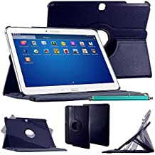 "ebestStar–Para Samsung Galaxy Tab 410.1SM-T530, T531T535–Funda–carcasa de piel PU soporte giratorio 360° + lápiz táctil, color azul oscuro [Dimensions precises de votre calentador: 243.4X 176.4X 8mm, pantalla 10.1""]"