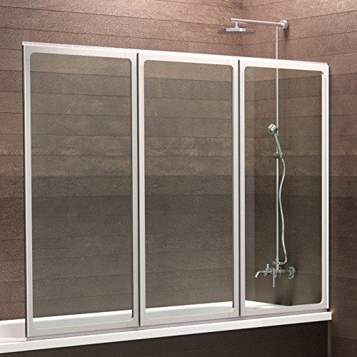 Schulte Duschwand München, 120 x 130 cm, Sicherheitsglas klar 3mm, Profilfarbe Weiß, Duschabtrennung für Badewanne