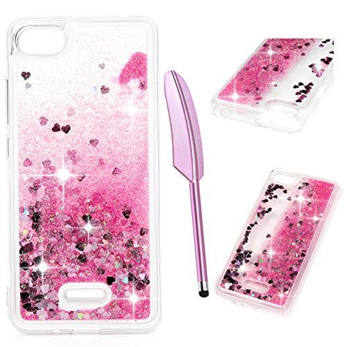 Funda Xiaomi Redmi 6A, Bling Cáscara Silicona Delgada Caja Suave Cover Arena Movediza Lentejuelas Glitter Fluido Líquido Brillar Cristal Protección Caso Claro Gel Bumper Liquidas Cubierta, Rosa roja