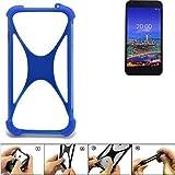 K-S-Trade Handyhülle Vestel 5530 Silikon Schutz Hülle Cover Case Bumper Silikoncase TPU Softcase Schutzhülle Smartphone Stoßschutz, blau (1x)