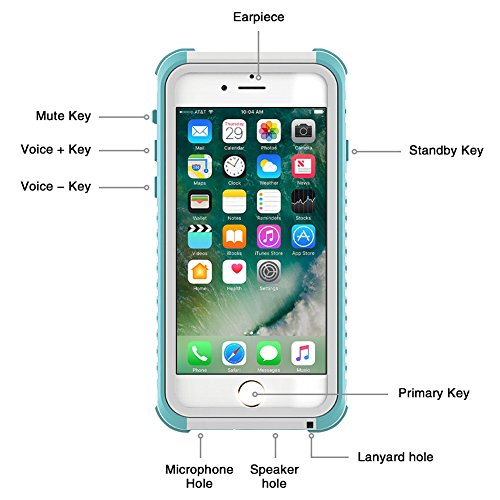 "For iPhone 7 Plus 5.5inch Waterproof Case Full Sealed Anti-shock Anti-impact Anti-Scratch Phone Case Full Protective Snowproof IP68 Standard Diving Underwater Case Cover For iPhone 7 Plus 5.5"" black Blue"