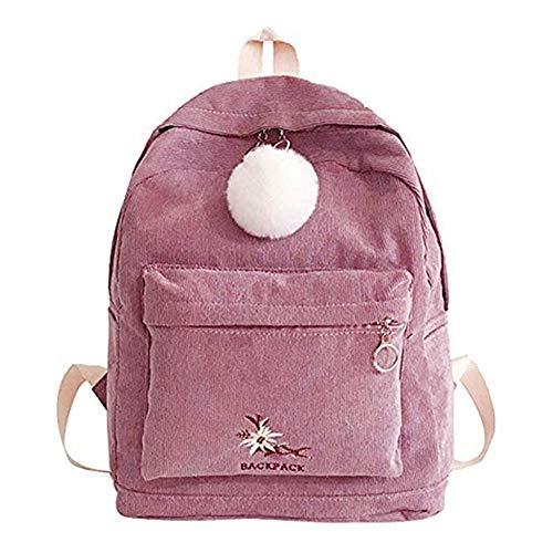 SUCES Mädchen Schultasche Mode Cord Rucksack Frauen Reisen Hairball Umhängetasche Damen Retro Einfach Tasche(Rosa,Free) -