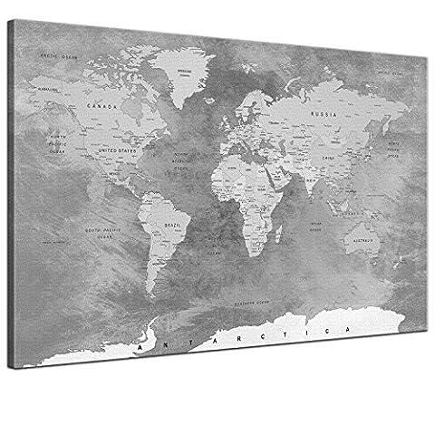 SPIRAL DIGITAL - Weltkarte Kork Pinnwand Städte Länder Namen Steinoptik IV Marmor Grau Bunt - Hochwertige Pinnwand Leinwandbild Kunstdruck Poster auf Keilrahmen - 1-teilig, 120 x 80 cm