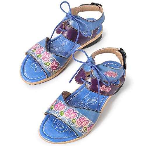 gracosy Sandali Donna Open Toe Sandali con Cinturini Bohemian Antiscivolo Comode Scarpe Basse col Tacco Estate Sandali Casual in Pelle