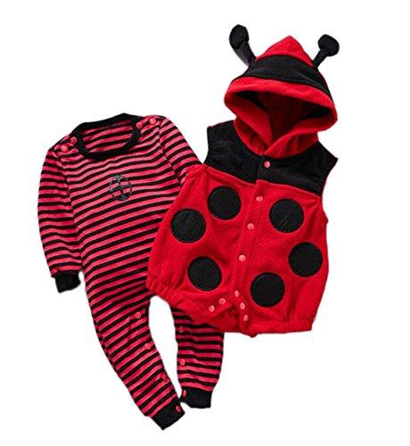 r Overall Biene Marienkäfer Lange Hülse Outfit mit Kapuze 2 Stück Sätze/3 Stück Sätze (Marienkäfer Halloween-kostüm Für Baby)