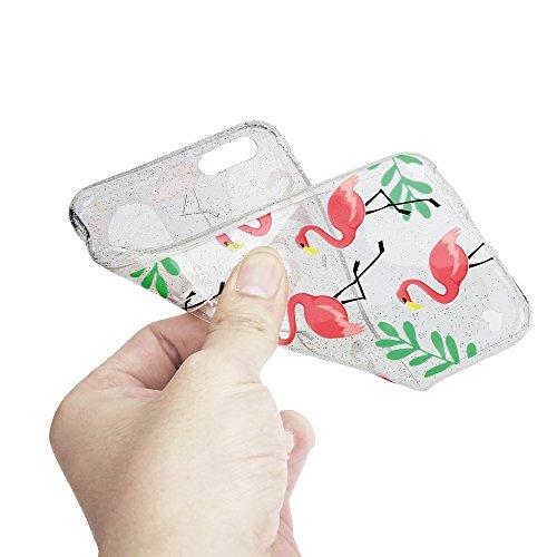 Sycode Coque pour iPhone 6S,Silicone Housse Etui pour iPhone 6,Crystal Clear Brillant Glitter Transparente Case Cover avec Joli élégant Fleur Oiseau Papillon Motif Souple Ultra Mince Exact Fit Doux Fl Rosa Flamant Cœur