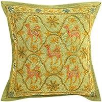 Vintage Green singolo unici federe 16x16 Camel ricamato Cushoin fodera in cotone cuscino decorativo Shams By Rajrang