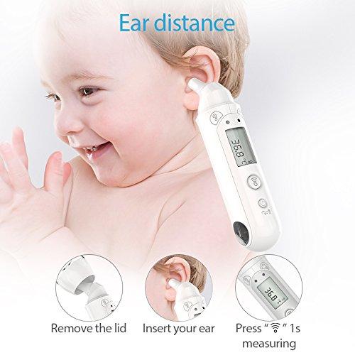 Koogeek Termómetro Digital de Frente y Oído Bluetooth Infrarrojo No Contacto Dual Modo Termómetro Médico de mano para iOS y Android Adecuado para Bebés y Adultos