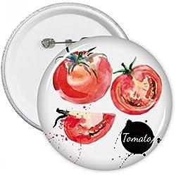DIYthinker Tomate Leckere gesunde Aquarell Runde Stifte Abzeichen-Knopf Kleidung Dekoration Geschenk 5pcs Mehrfarbig M