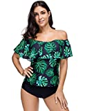 KamiraCoco Bikini Damen Push Up Zweitelig Tankini Sexy Floral Stand Badeanzug Bademode Damen Bandeau Tankini Swimwear (XL (EUR 40-42), Sexy-5)