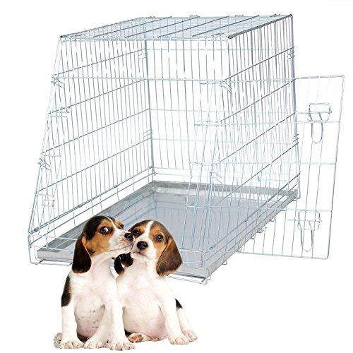 Faltbar Hundekäfig Auto Käfig Transportkäfig Hundebox Hundetransportbox 1 Türen 92*63*72 cm HT2084sb1