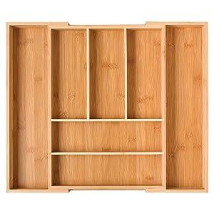 Homfa Bambus Besteckkasten Ausziehbar 7 Fächer Besteckfach Für Schubladen  Schubladeneinsatz Als Küchenorganizer Besteckeinsatz Verstellbar 30
