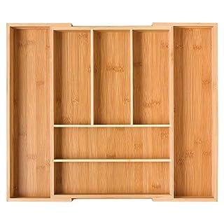 Homfa Bambus Besteckkasten ausziehbar 7 Fächer Besteckfachfür Schubladen Schubladeneinsatz als Küchenorganizer Besteckeinsatz verstellbar 30-50x40x5cm(BxTxH)