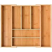 Homfa Bambus Besteckkasten ausziehbar für Schubladen mit 7 Fächern Schubladeneinsatz als Küchenorganizer Besteckeinsatz verstellbar 30-50x40x5cmBxTxH